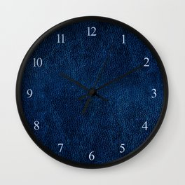 Dark blue glossy leather texture abstract Wall Clock