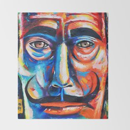 Salvador Dalí Colorful Art Painting Throw Blanket