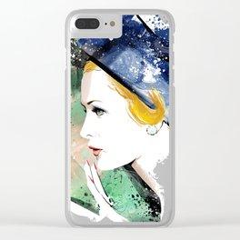 Portrait a lady with blue hat, Fashion Painting, Fashion IIlustration, Vogue Portrait, #19 Clear iPhone Case
