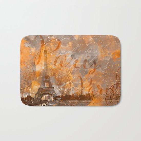 Paris Eifel Tower orange mixed media art Bath Mat