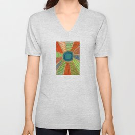 Blue radiating Sun Unisex V-Neck