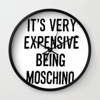 moschino Wall Clocks featuring It's Very Expensive Being Moschino by RickyRicardo787