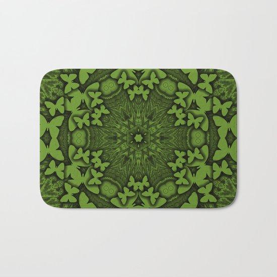 Butterfly kaleidoscope in green Bath Mat