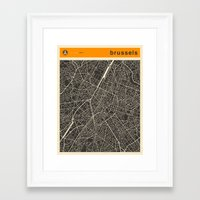 brussels Framed Art Prints featuring Brussels Map by Jazzberry Blue