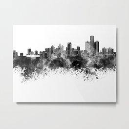 Detroit skyline in black watercolor Metal Print
