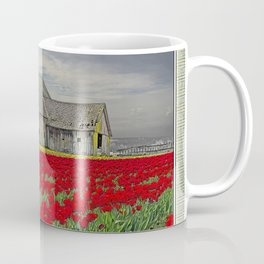RED TULIPS AND BARN SKAGIT FLATS Coffee Mug