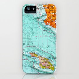 Long Beach colorful old map iPhone Case
