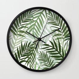 Tropical green leaves Wall Clock