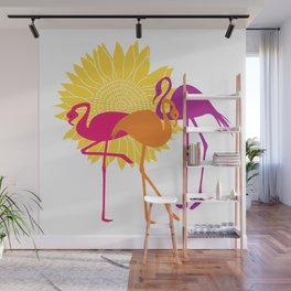 Colorful Flamingos Wall Mural