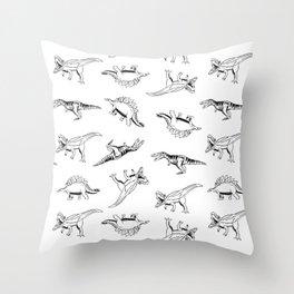 Dino Sketch Scaled Throw Pillow