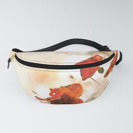 Red Poppy #floral #watercolor Fanny Pack