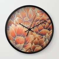lotus flower Wall Clocks featuring Lotus by Jess Moore