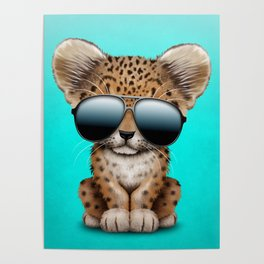 Cute Baby Leopard Wearing Sunglasses Poster