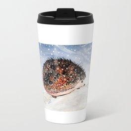 Hedgehog Facing Blizzard Travel Mug