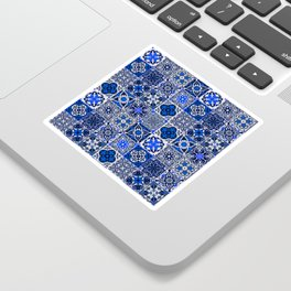-A34- Blue Traditional Floral Moroccan Tiles. Sticker