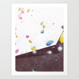Geometric abstract free climbing bouldering holds pink yellow Art Print