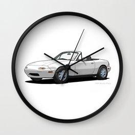 Mazda MX-5 Miata MK1 Crystal White Wall Clock