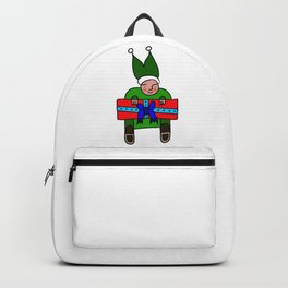 Elf with a Gift for Christmas Backpack