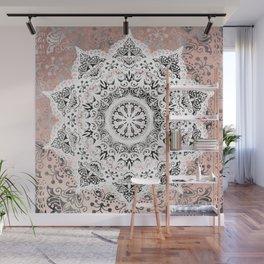 Dreamer Mandala White On Rose Gold Wall Mural