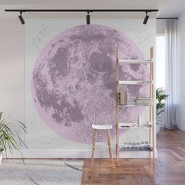 Pink Full Moon Print, by Christy Nyboer Wall Mural