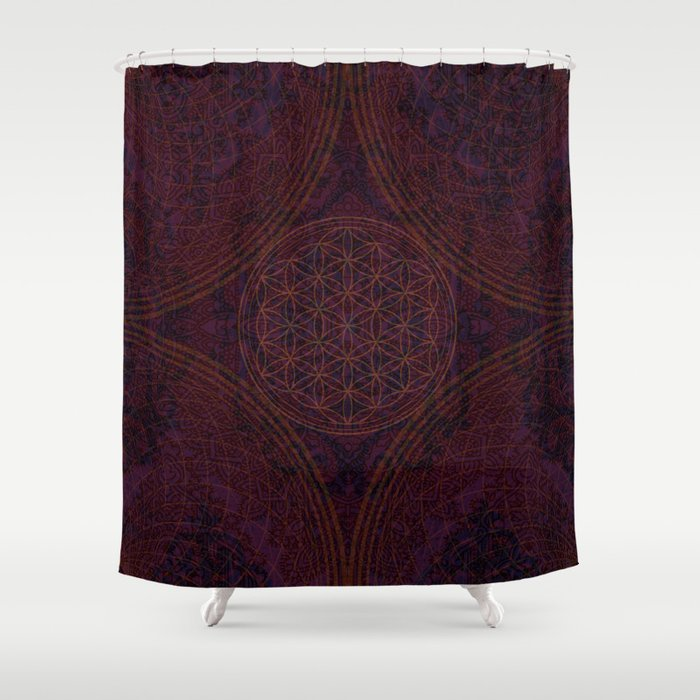 Nirvanas Within Burgundy Purple Red Gold Bohemian Design Shower Curtain By Inspiredimages