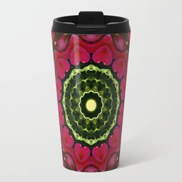 Happy Valentine's Day, Flower Mandala, Red blossoms with hearts Travel Mug