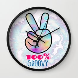 100 % Groovy Fingers Holding  Up Peace Sign Wall Clock