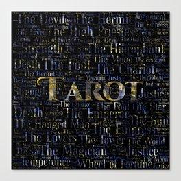 Tarot Major Arcana Word Art  Gold and Gemstone Canvas Print