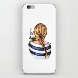 Brunette Braid Hairstyle Girl with Pug Dog Drawing iPhone Skin