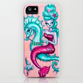 Mermaid with Candy Blue Bouffant Riding a Seahorse iPhone Case
