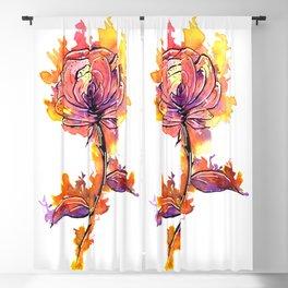 Burning Rose Tattoo Blackout Curtain
