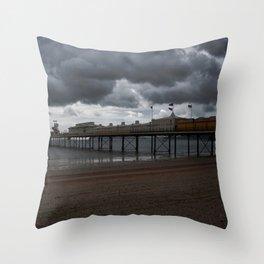Dark Clouds Over Paignton Pier Throw Pillow