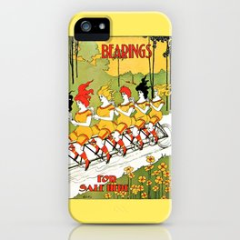 Vintage art Nouveau funny girls on a tandem bicycle iPhone Case