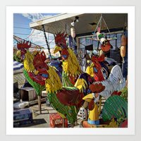 A Gang of Roosters Art Print
