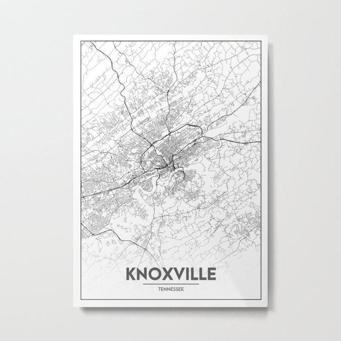 Minimal City Maps - Map Of Knoxville, Tennessee, United States Metal Print