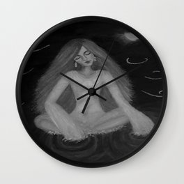Silence by Lu, black-and-white Wall Clock