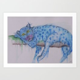 Ink Animals of Africa - Bluesey Leopard Art Print