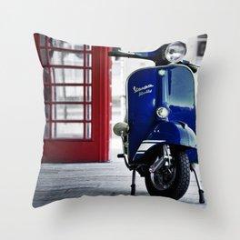 Classic Blue Vespa Throw Pillow