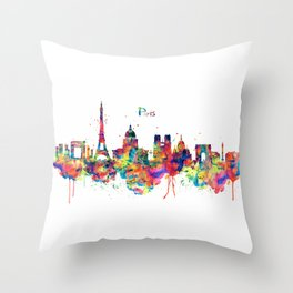 Paris Skyline Silhouette Throw Pillow