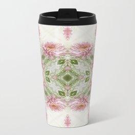 Pink Chrysanthemums Kaleidoscope Art 10 Travel Mug