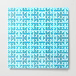Aqua Blue and White Greek Key Pattern Metal Print