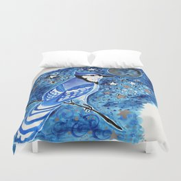 Blue Moon Blue Jay Watercolor Duvet Cover