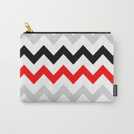 Chevron grey red black Carry-All Pouch
