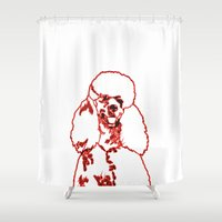 poodle Shower Curtains featuring Poodle by Mike van der Hoorn