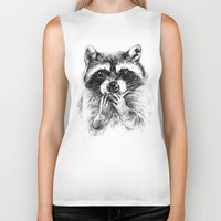 rocket raccoon Biker Tanks featuring Surprised raccoon by Anna Shell