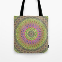 mandala Tote Bags featuring Floral ornament mandala  by David Zydd