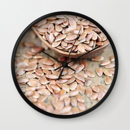 Dried Flax Seeds on Spoon Wall Clock