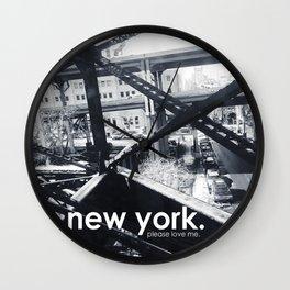 B&W New York, Please Love Me Wall Clock