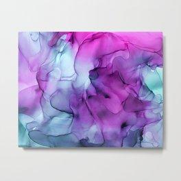 Rose Violet Purple Ink Swirls Abstract Peony Metal Print