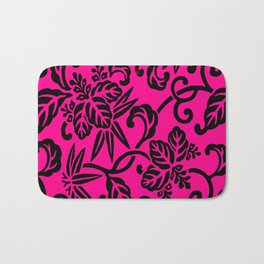 Hot Pink & Black Japanese Leaf Pattern Bath Mat